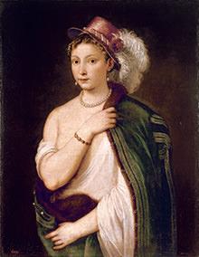ティツィアーノ・ヴェチェッリオ「羽飾りのある帽子をかぶった若い女性の肖像」