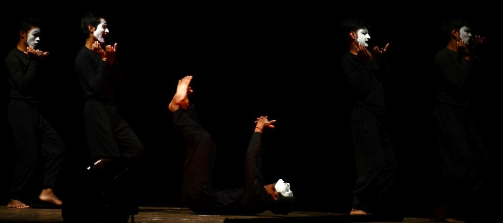 An unsual scene from the National Mime Festival