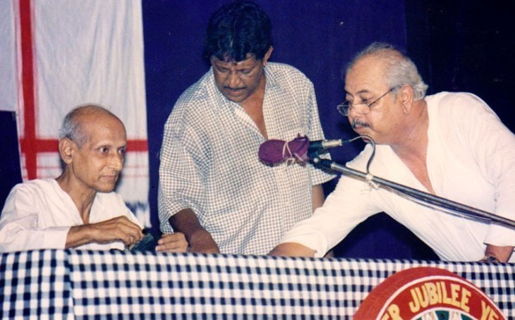 Hemanta Dutta (R) with Kulada Kumar Bhattacharya and Ratan Lahkar during Kohinoor Theatre's Silver Jubilee celebration