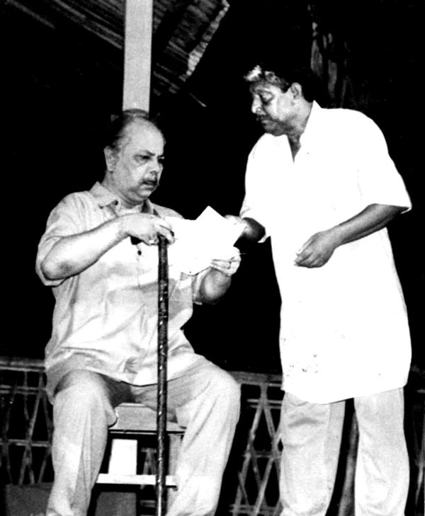 Hemanta Dutta with Ratan Lahkar in a scene from Kohinoor Theatre's 'Pratiksha'