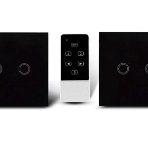 Makegood - 2ks dotykový vypínač, sklenený panel, s DO, dva okruhy, čierny
