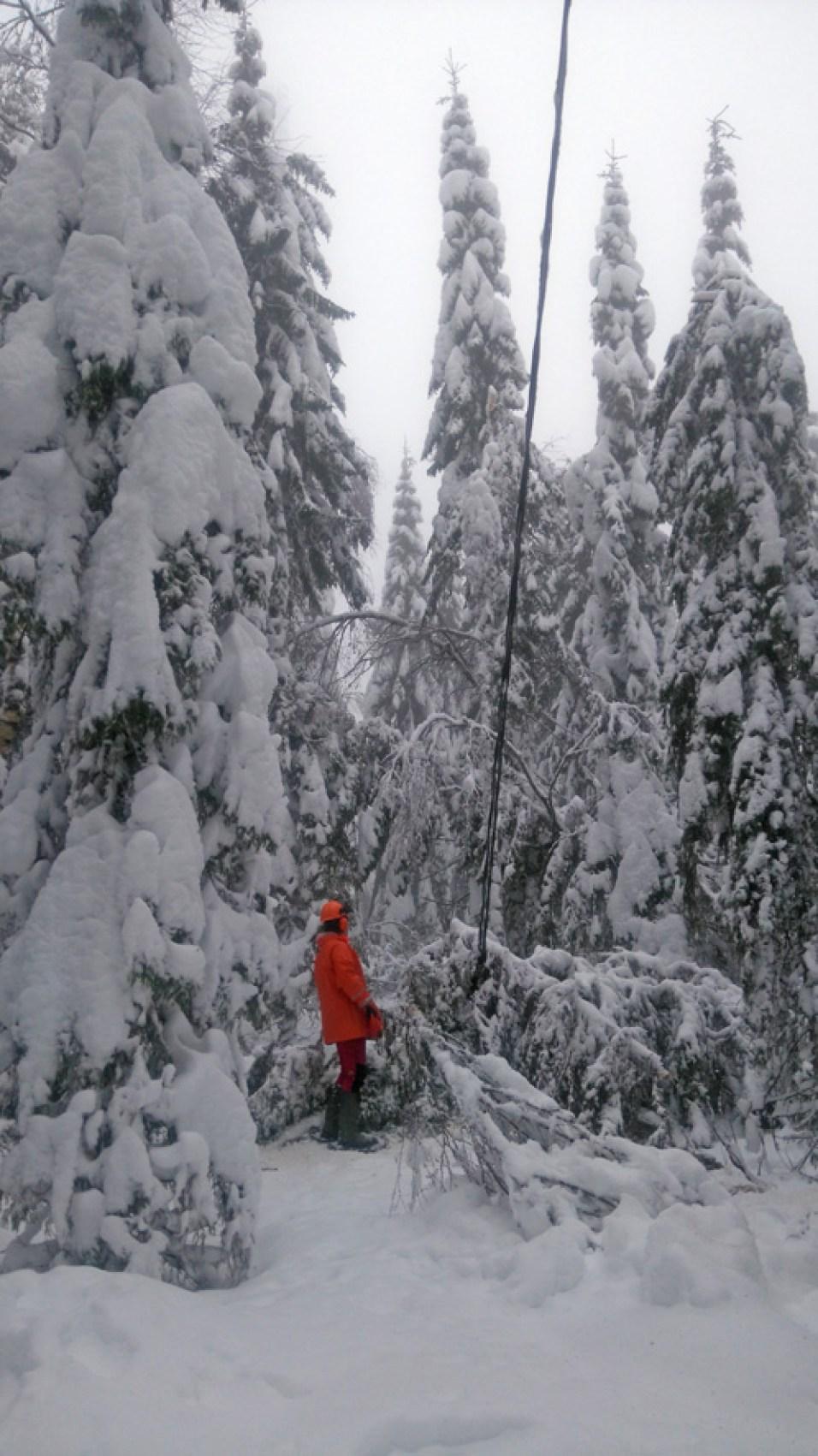 Linjanraivausta Kontiolahden Pyytivaaralla 22. joulukuuta. Kuva: Risto Tahvanainen, Enerke Oy