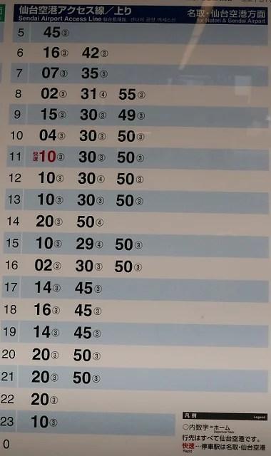 仙台駅の仙台空港アクセス線の時刻表の掲示板の写真