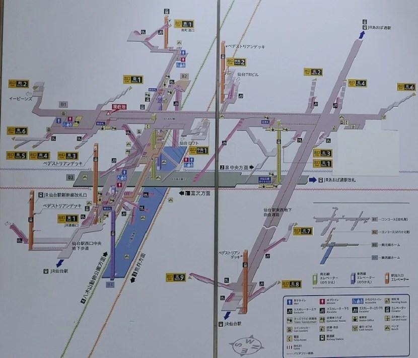 仙台駅地下鉄の構内図の写真