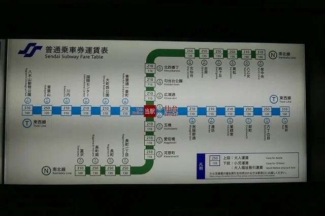 南北線と東西線の運行経路図と運賃表の写真