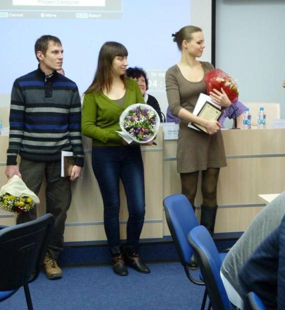 Переможці конкурсу (зліва направо): Тарас Зозулинський, Ірина Федорів, Анна Бабінець.