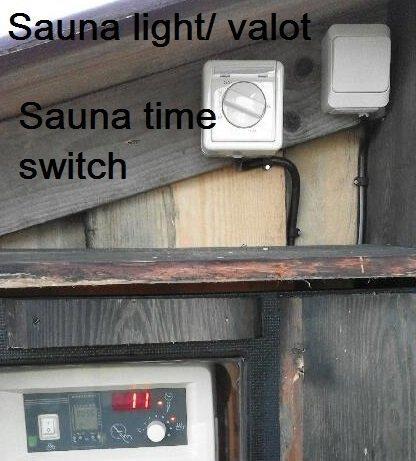Saunan valot ja aikakytkin