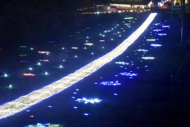 イルミネーションあだたらスキー場2015年LED天の川
