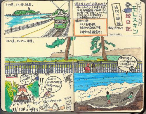 2010年当時のモレスキン絵日記。スタビロPen68で着彩。鎌倉散策をスケッチ。