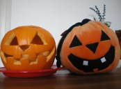 Real pumpkin Vs soft toy pumpkin. . . The first one has a sinister smile that I love, at least it had one till we put a candle in it and it, slowly and sadly, melted.