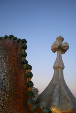 Detail from the Dragon's tail at the Casa Batlló roof terrace. A small sample of Gaudi's genius.
