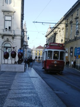 Cable car at the city center; a common image of Lisboa.