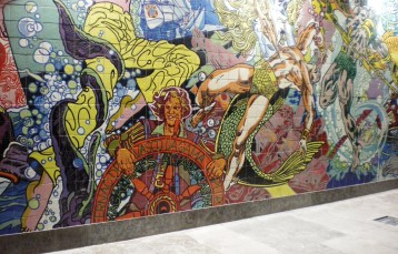 Enormous comic-like mural at the Oriente Metro Station, the stop for Parque das Nações (Park of Nations).