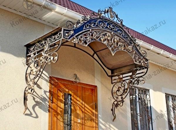 "Кованый козырёк над входом №2384 | Кузница ""Ковка на заказ ..."