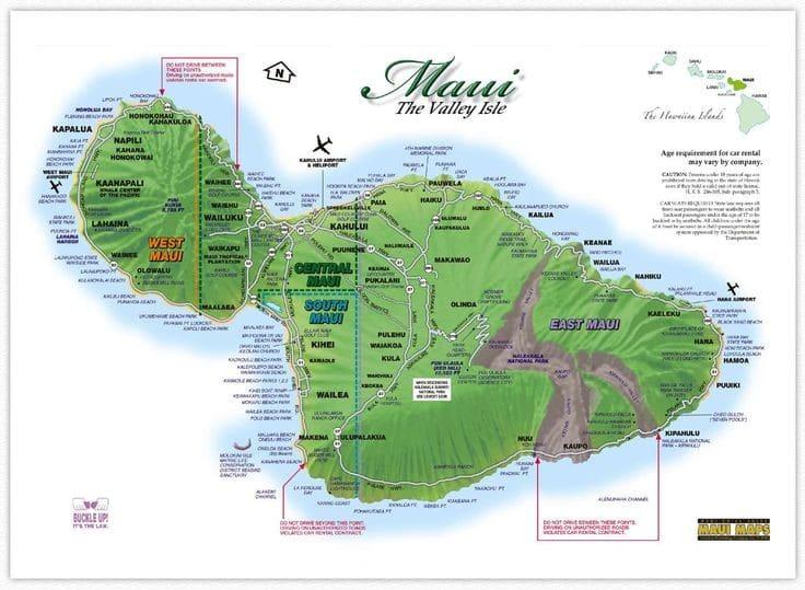 carte touristique de maui