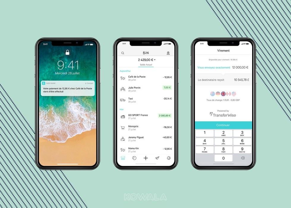 Trois écrans de l'appli mobile N26