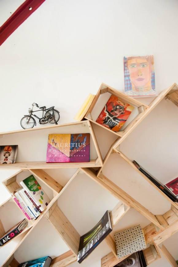 Bibliothèque caissons bois
