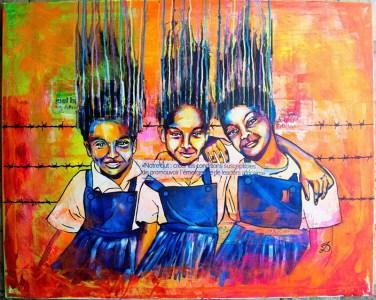 """""""Transforming Africa"""": Oeuvre avec trois écoliers, comprend une citation de Fred Swaniker. L etableau parle de la nécessité de créer un bon environnement (éducation) pour les futurs leaders africains"""