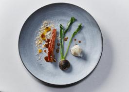 The-Test-Kitchen---Pan-seared-duck-breast,-orange-emulsion,-turnip-and-cashew-purée,-BBQ-turnip-(HR)