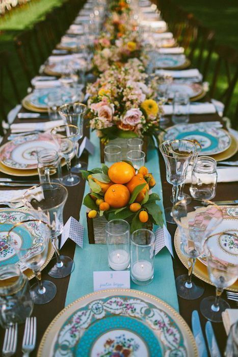 Frutas, flores y vajilla vintage, catering madrid