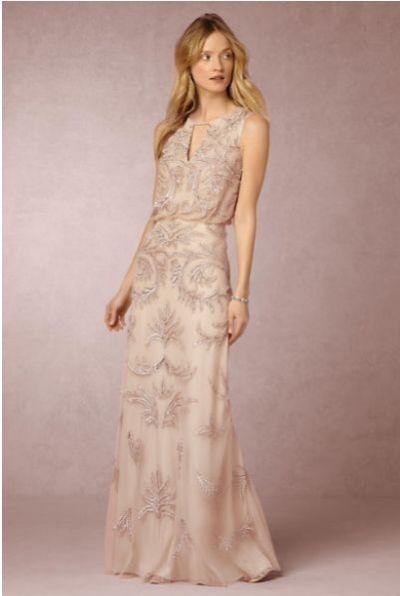Vestido de novia en tono champagne con bordado de Hazel, 447 euros