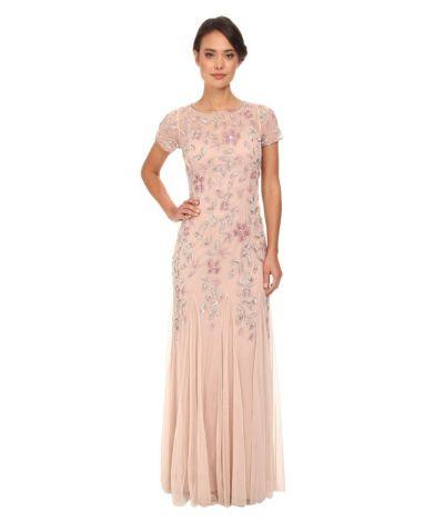Vestido de novia rosado y floral de Adrianna Papell, 106 euros