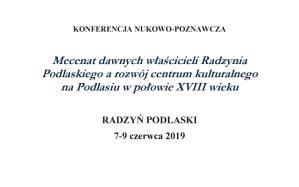 Konferencja naukowa @ Pałac Potockich