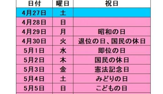 【速報】2019年 ゴールデンウィーク(GW)は10連休に決定!