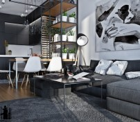 black-and-white-interior-with-greenery-600x525