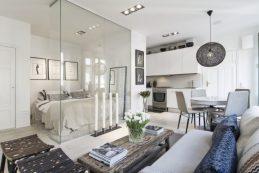 Small-Flat-in-Stockholm-Bedroom-Transparent-Walls-800x533