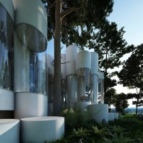 A-house-made-of-cylinders-designed-to-fit-between-the-trees-on-the-site