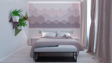 pastel-purple-hexagonal-small-bedroom-feature-wall-colours