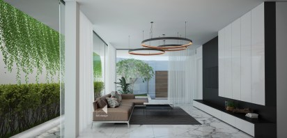 living-wall-circular-chandeliers-minimalist-house