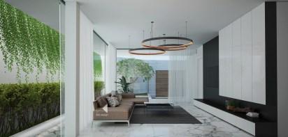 living-wall-circular-chandeliers-minimalist-house