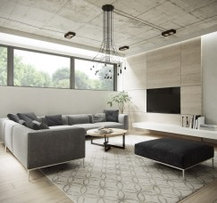 patterned-rug-modern-chandelier-new-apartment