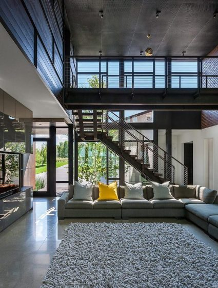 Lake-Waconia-House-has-a-double-height-living-space