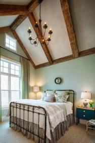 Farmhouse-green-bedroom-rustic-beams