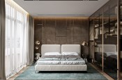 Queen-Sized-White-Platform-Bed-In-Modern-Bedroom-With-Light-Blue-Carpet