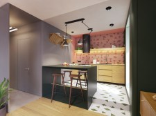 one-wall-kitchen-with-unique-pink-tile