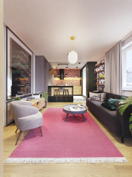 plush-pink-living-room-rug-with-round-coffee-table-and-accent-chair