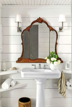 mirror shelf Luxury shiplap bathroom wood ceiling antique mirror