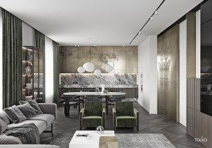 Modern-Open-Concept-Eat-In-Kitchen-With-Gold-Cupboards-And-Green-Chairs