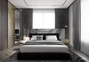 Platform-Bed-With-White-Marble-Headboard-In-Bedroom-With-Dark-Green-Curtains
