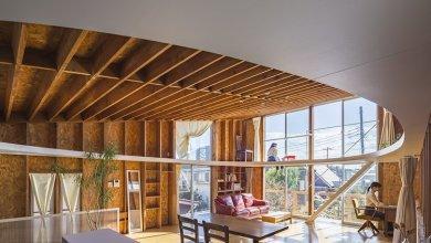 Photo of Egy felújított Japán otthon egyedi, elliptikus galériaszinttel