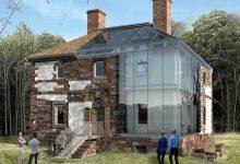 Photo of Építészeti inspiráció: üvegfalakkal egészítették ki a megőrzött romos ház rusztikus falait
