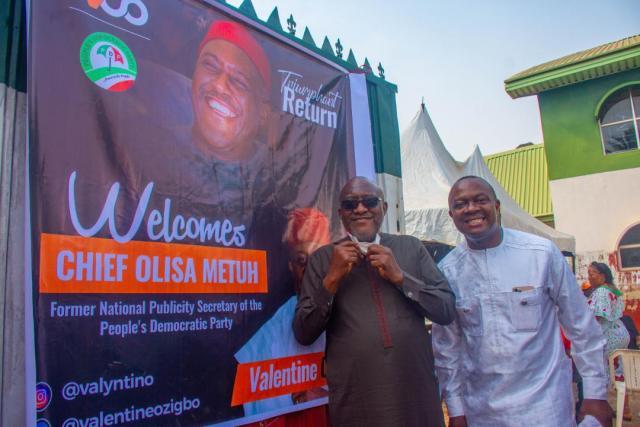 Anambra PDP Stalwart Valentine Ozigbo, welcomes Olisa Metuh to Anambra