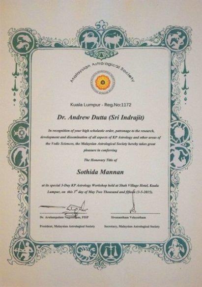 Sothida Mannan astro award