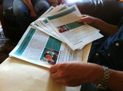 Richardson has printed flyers chronicling his son's abduction case, which he hands out to people outside the Mexican Consulate in San Diego.