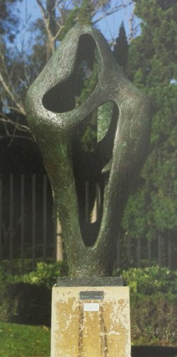 "Barbara Hepworth's 1960 sculpture ""Figure for Landscape"" in the San Diego Museum of Art's sculpture garden."