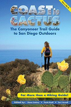 "The book jacket cover of ""Coast to Cactus: The Canyoneer Trail Guide to San Diego Outdoors."""